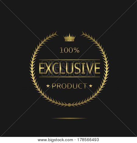 Exclusive product label. Golden laurel wreath, sale promotion icon