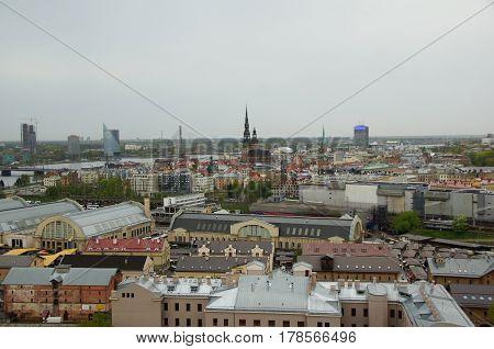 Riga rainy day with a bird's eye