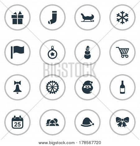 Vector Illustration Set Of Simple Christmas Icons. Elements Snow, Sledge, Basket And Other Synonyms Toy, Calendar And Present.