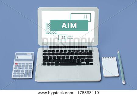 Business goals target process on laptop