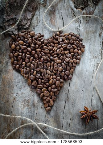 Coffee Beans On Wooden Background Heart