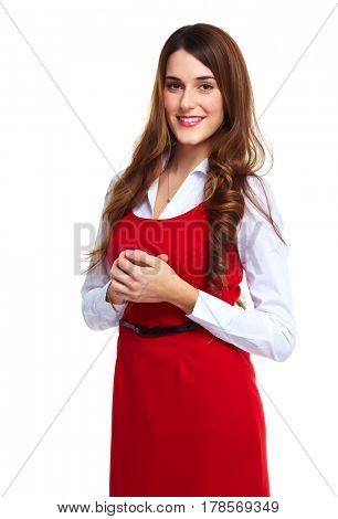 business woman in red dress