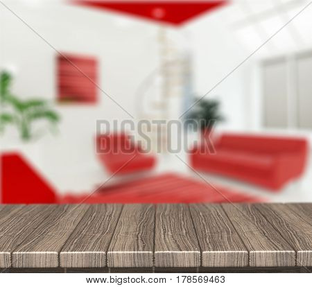 3D render of a wooden table looking out to a defocussed modern lounge