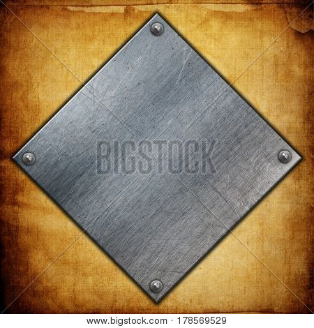 Metal plates with nuts on a grunge paper background