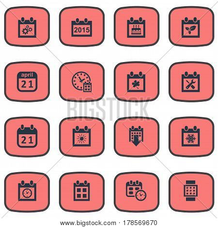 Vector Illustration Set Of Simple Calendar Icons. Elements Planner, Agenda, Remembrance And Other Synonyms Almanac, Agenda And Watch.
