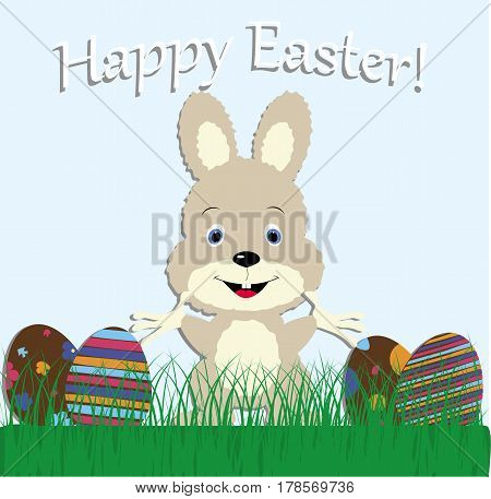 cute baby greeting card happy Easter. Bunny rabbit in the meadow with grass and Easter eggs. vector illustration