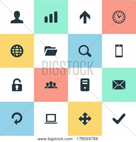 Vector Illustration Set Of Simple Apps Icons. Elements Dossier, Open Padlock, Statistics And Other Synonyms Invitation, Touchscreen And Refresh.