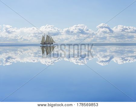 Sailboat. Sailboat sails into the calm in the sea bay.
