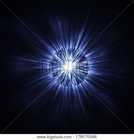 Dark Blue glowing glitter background effect. Magic glow sparkling texture. Star explosion sparks light effect in explosion on black background. Vector Illustration