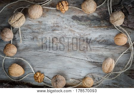 Walnuts On Aged Wood. Closeup