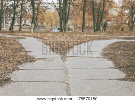 The road in the park diverge in different directions the road fork in the retro style.