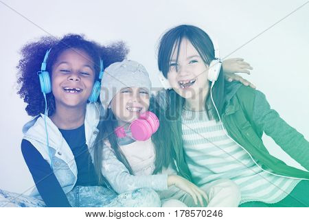 Children siting and having a laugh together