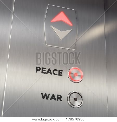 Elevator panel with the Peace Button pushed