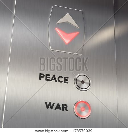 Elevator panel with the War Button pushed