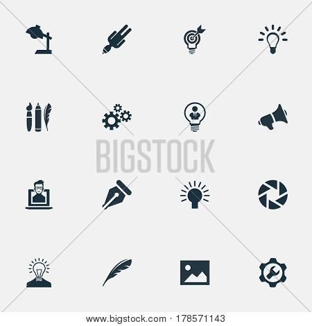 Vector Illustration Set Of Simple Visual Art Icons. Elements Project Aim, Apathy, Design Instruments And Other Synonyms Web, Laptop And Success.