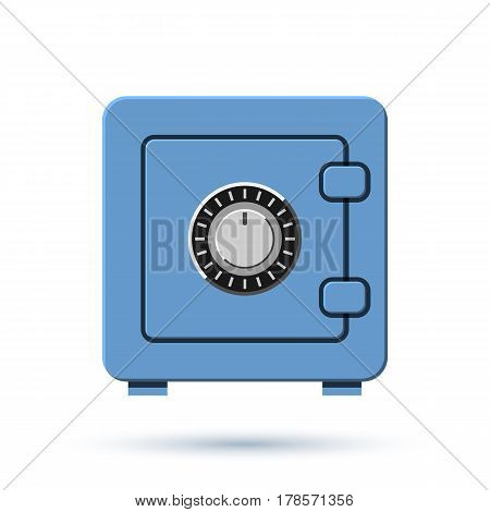 Bank safety deposit box with shadow isolated on white background. Business icon for web site and apps. Vector illustration