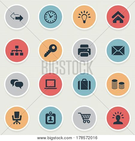 Vector Illustration Set Of Simple Trade Icons. Elements Bulb, Direction, Chatting And Other Synonyms Clock, User And Computer.