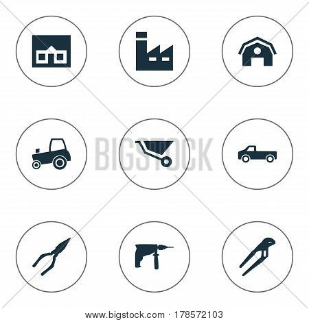 Vector Illustration Set Of Simple Build Icons. Elements Cart, Transportation, Adjustable Wrench And Other Synonyms Adjustable, Pickup And House.