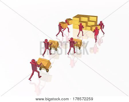 Red robots with case goods on white reflective background 3D illustration.