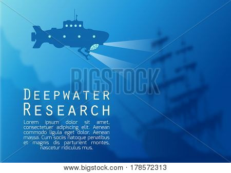 Blurred underwater background with blue submarine silhouette and old sunken ship. Vector illustration.