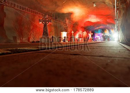 STOCKHOLM SWEDEN - MAR 25 2017: Tunnel with red light and tomb stones the Stockholm Tunnel Run Citybanan 2017. March 25 2017 in Stockholm Sweden