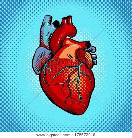 Human heart pop art retro vector illustration. Comic book style imitation.