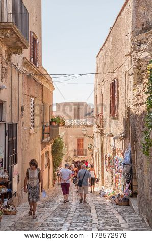 The Scenic Stone Paved Street Of Erice, Province Of Trapani In Sicily