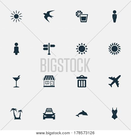Vector Illustration Set Of Simple Beach Icons. Elements Taxi, Airplane, Hot And Other Synonyms Cocktail, Airplane And Sea.