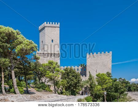 Norman Castle Or Medieval Castle Of Venus In Erice, Province Of Trapani In Sicily, Italy