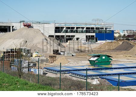 MAGDEBURG, GERMANY - MARCH 24, 2017: Construction site of an IKEA Store in Magdeburg. The furniture store is to be opened in summer 2017