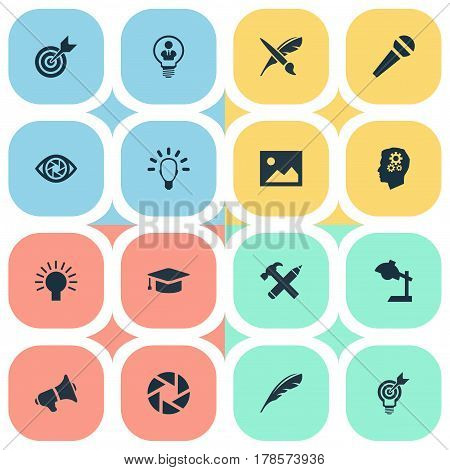 Vector Illustration Set Of Simple Visual Art Icons. Elements Project Aim, Concentration, Plume And Other Synonyms Aperture, Illumination And Microphone.