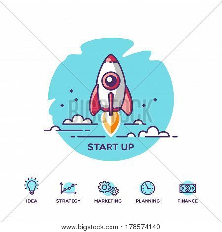 Start up. Concept for new business project, launching product or service with symbols. Vector illustration.