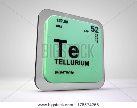 tellurium - Te - chemical element periodic table 3d render