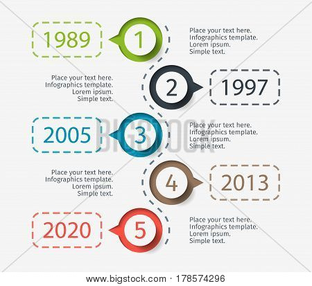Modern colorful template business concept timeline. Infographics layout with 5 steps, parts, options, stages, for presentation.