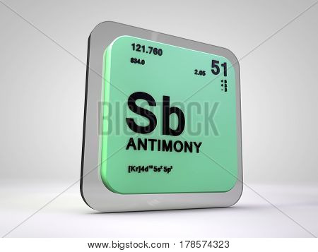 Antimony - Sb - chemical element periodic table 3d render