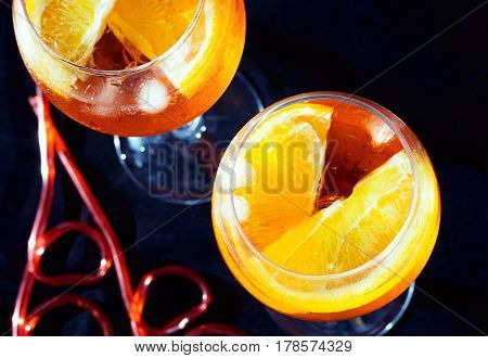 Two glasses of spritz aperol cocktail top view
