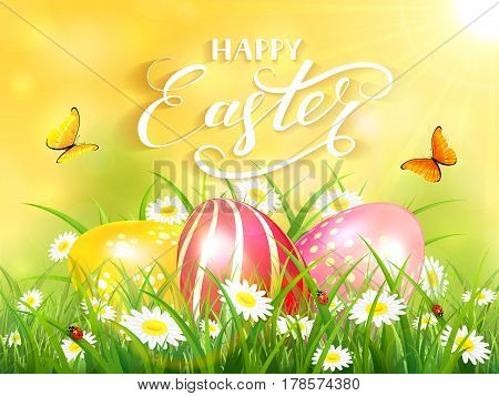 Easter theme with a flying butterflies and three colorful eggs on grass and flowers, yellow nature background with sun beams and lettering Happy Easter, illustration.