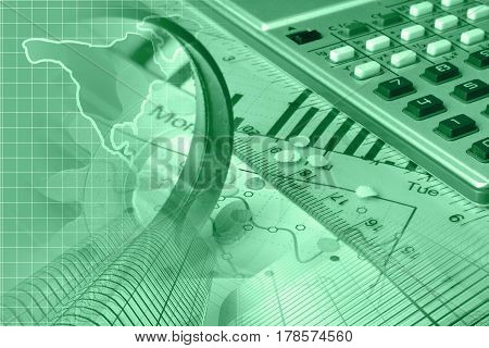 Financial background in greens with map buildings and graph.
