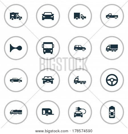 Vector Illustration Set Of Simple Automobile Icons. Elements Lorry Stop, Automobile, Shipment And Other Synonyms Trailer, Siren And Sedan.