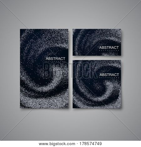 Silver Confetti Glitters On Black Swirling Background. Vector Illustration. Blending Whirlpool of Glittering Particles and Oily Substance. Diffusion texture. Decorative Element for Stationery Design