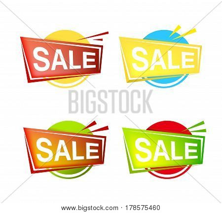 Set of colorfull Sale banner and emblem icons. Vector isolated illustration