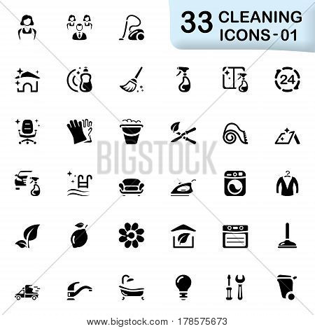 Black cleaning icons for web and mobile applications