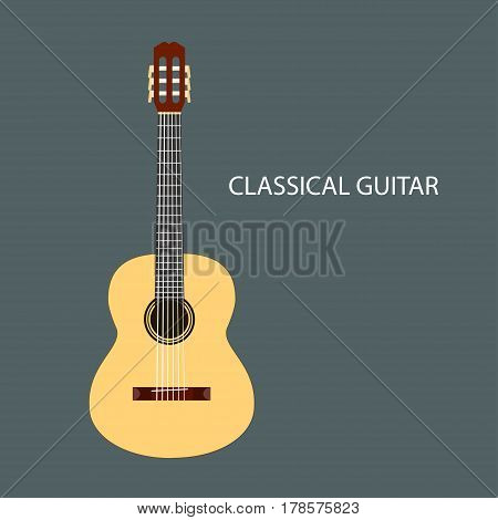 Classical guitar of the six-string guitar isolated symbol. Vector illustration
