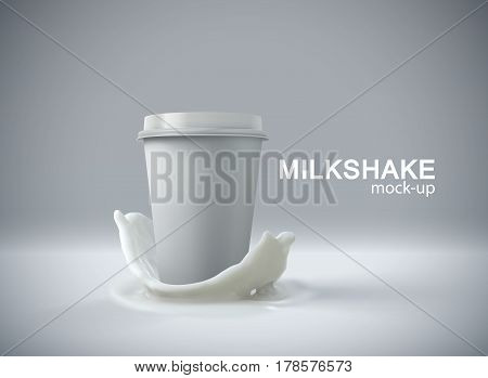 Paper milkshake cup with milk crown splash. Vector 3d food illustration. Milkshake cup package mockup for ad poster design