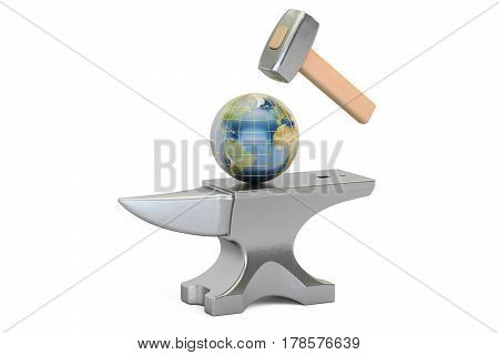 Anvil with Earth globe 3D rendering isolated on white background