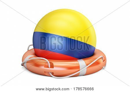 Lifebelt with Colombia flag safe help and protect concept. 3D rendering