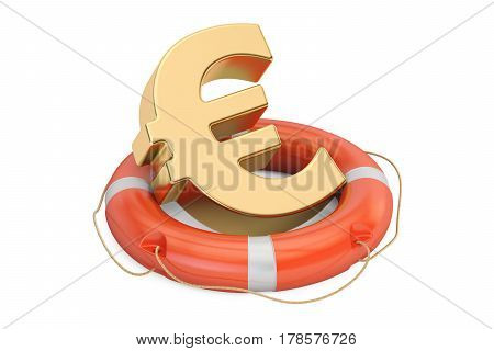 Lifebuoy with golden euro symbol 3D rendering isolated on white background