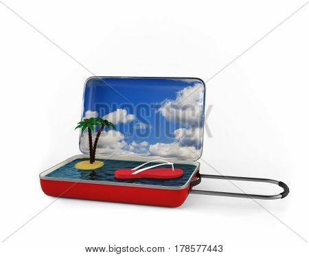 Palm at the sea. Isolated on white. 3d rendering