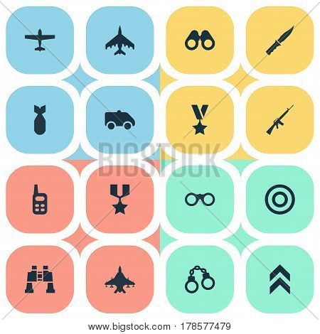 Vector Illustration Set Of Simple Military Icons. Elements Emergency, Nuke, Military Order And Other Synonyms Military, Aim And Medal.