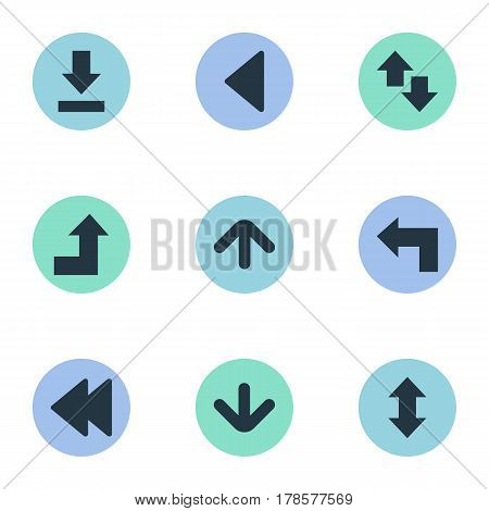 Vector Illustration Set Of Simple Cursor Icons. Elements Left Landmark , Upwards-Downwards, Down Up Synonyms Arrow, Raising And Vertical.